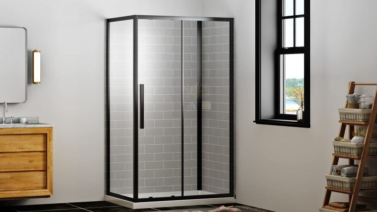 Black shower with grey tile wall