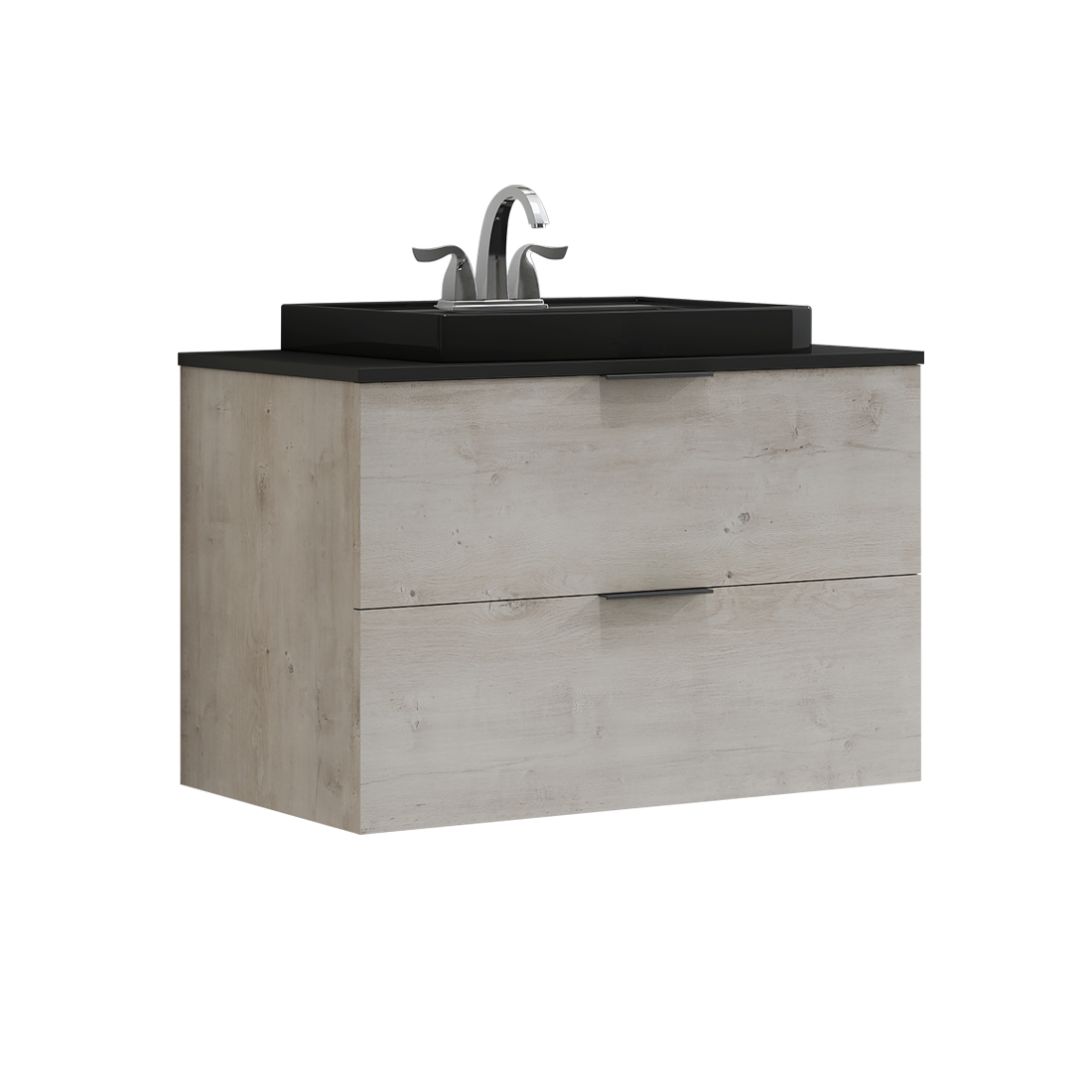 Drayston 30inch-Vanity with black sink front view