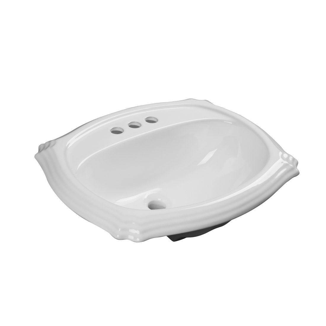 Anchorage Lavatory 3Hole 4inch White Front View