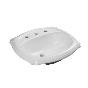 Anchorage Lavatory 3Hole 8inch White Front View