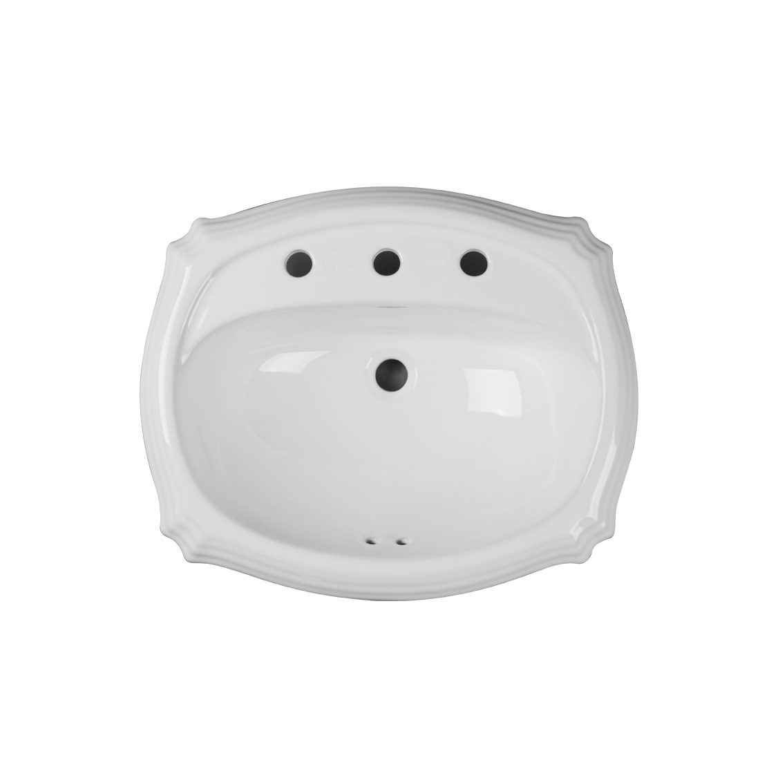 Anchorage Lavatory 3Hole 8inch White Up View