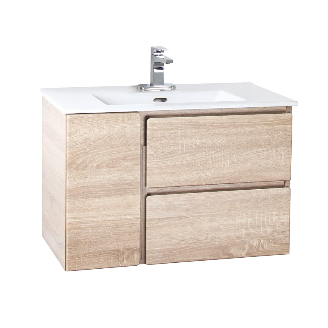 Bologna 30inch Wall Hung Vanity White Oak Front View