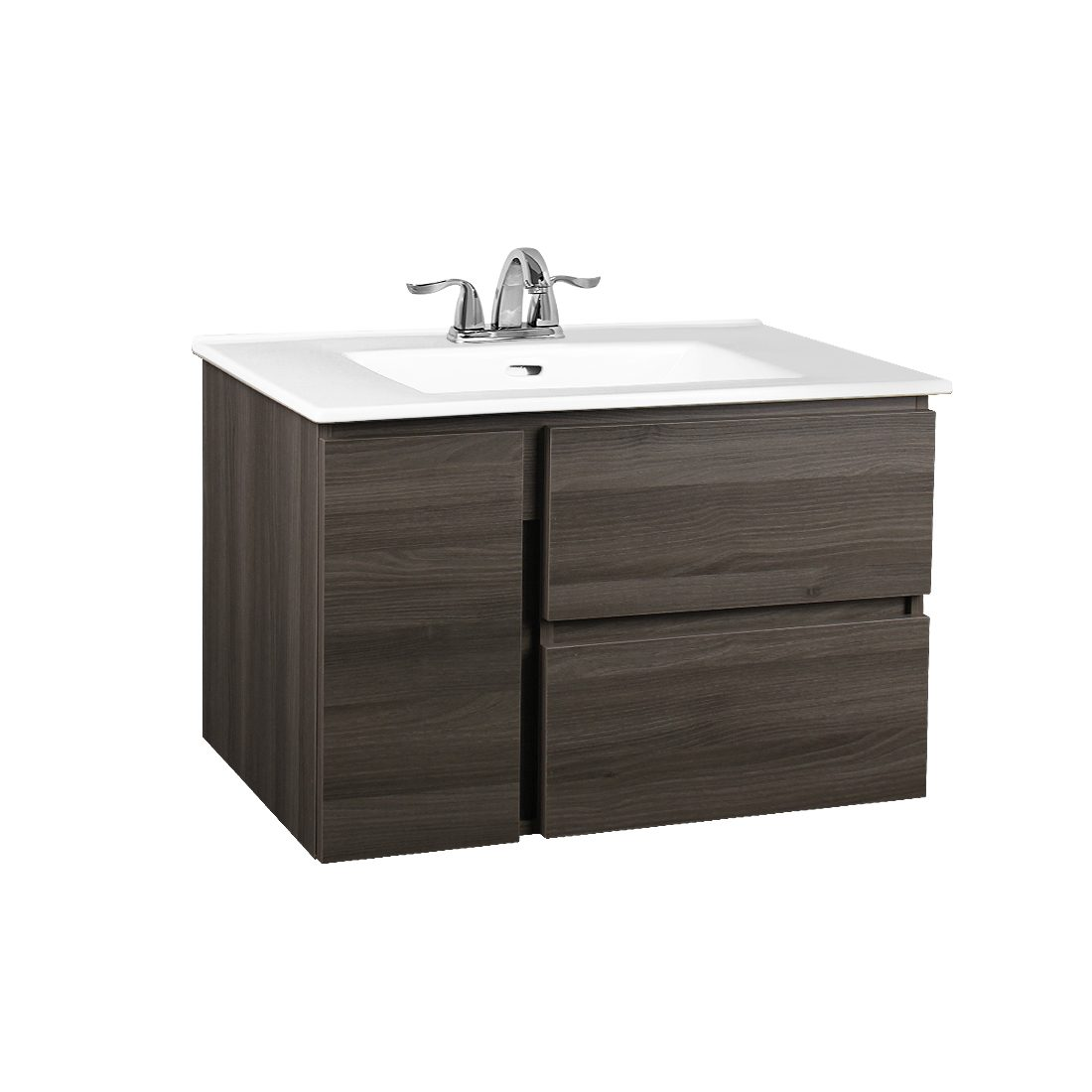 Bologna 30inch Wall Hung Vanity Wooden Grey Front View