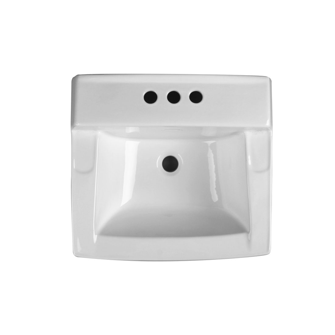 Camden Wall Hung Lavatory 3Hole 4inch White Up View