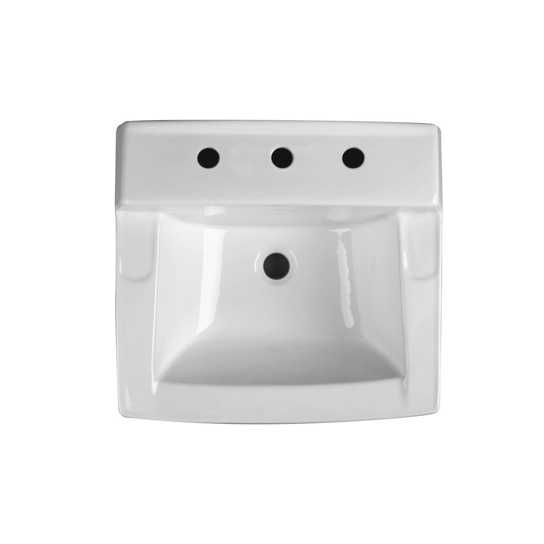 Camden Wall Hung Lavatory 3Hole 8inch White Front View