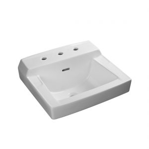 Camden Wall Hung Lavatory 3Hole 8inch White Up View