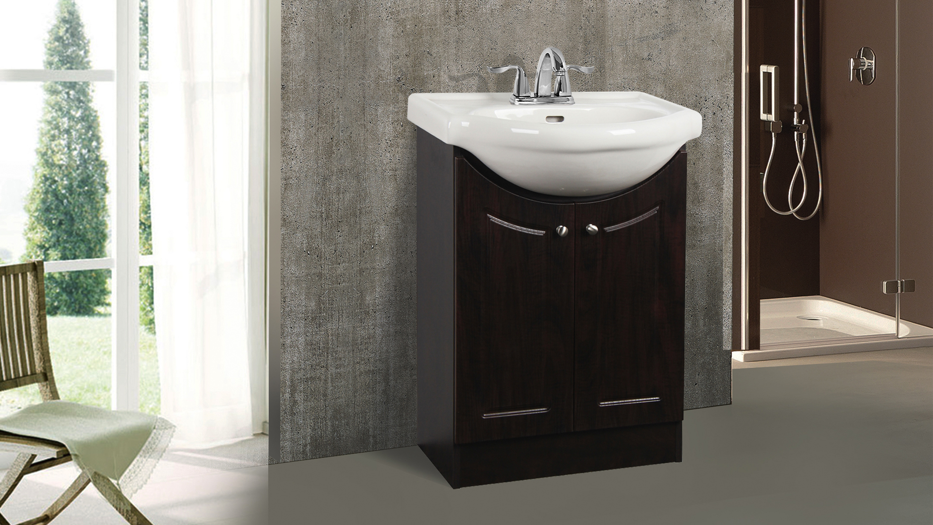 Dolphin Homeware Collection Euro 24inch Vanity Chocolate Front View