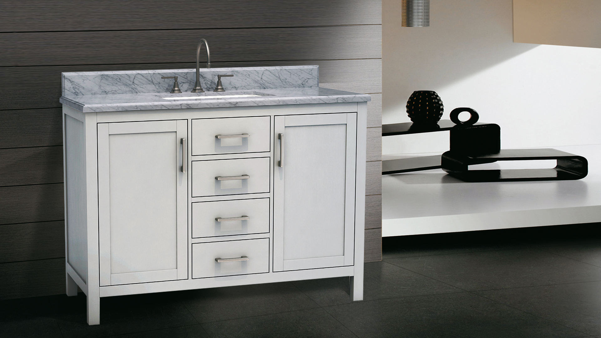 Dolphin Homeware Collection Torino 48inch Vanity White Front View
