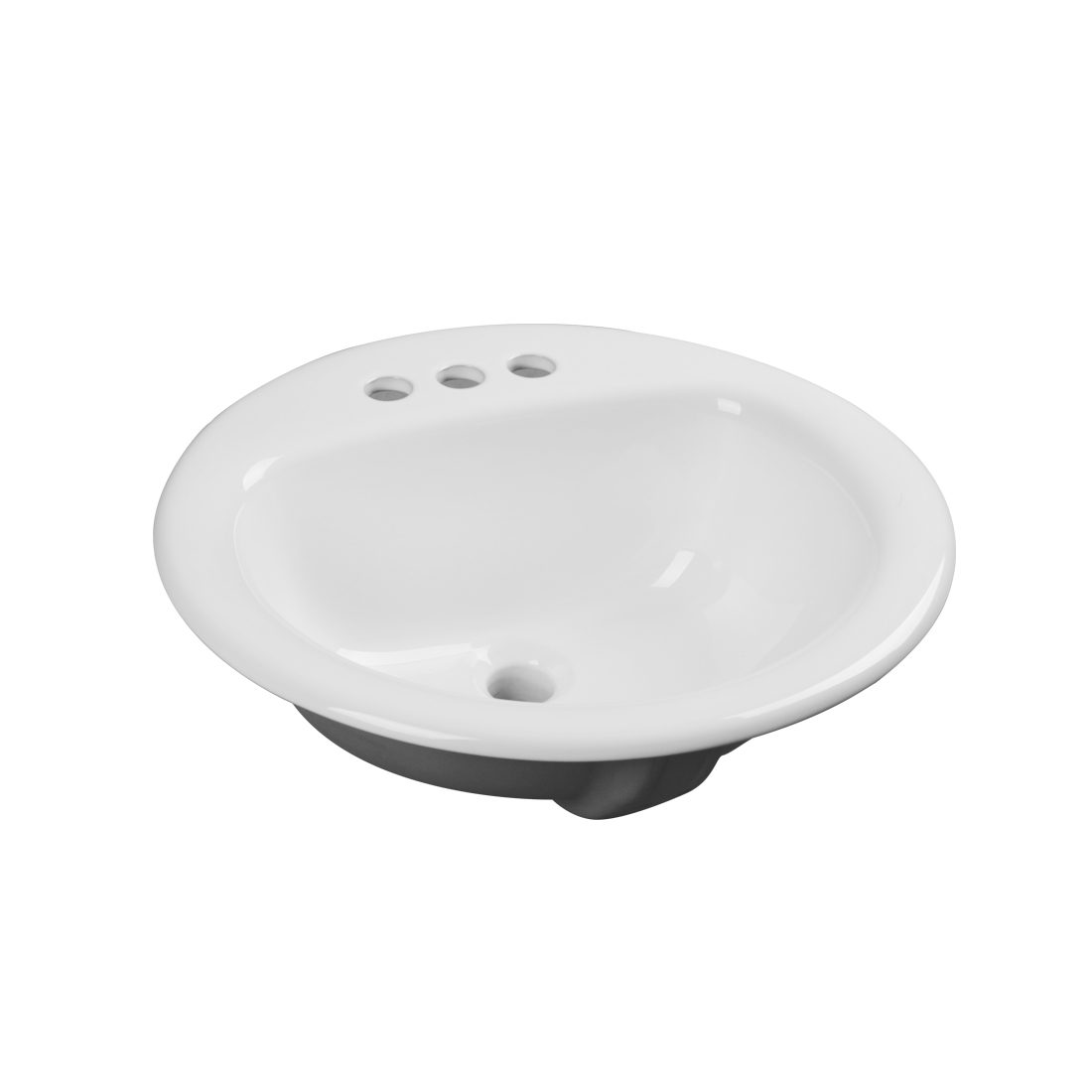 Edmonton Lavatory 3Hole 4inch White Front View