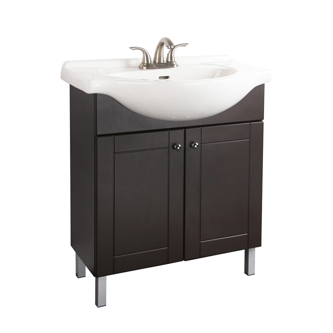 Euro 30inch Metal Leg Vanity Chocolate Front View