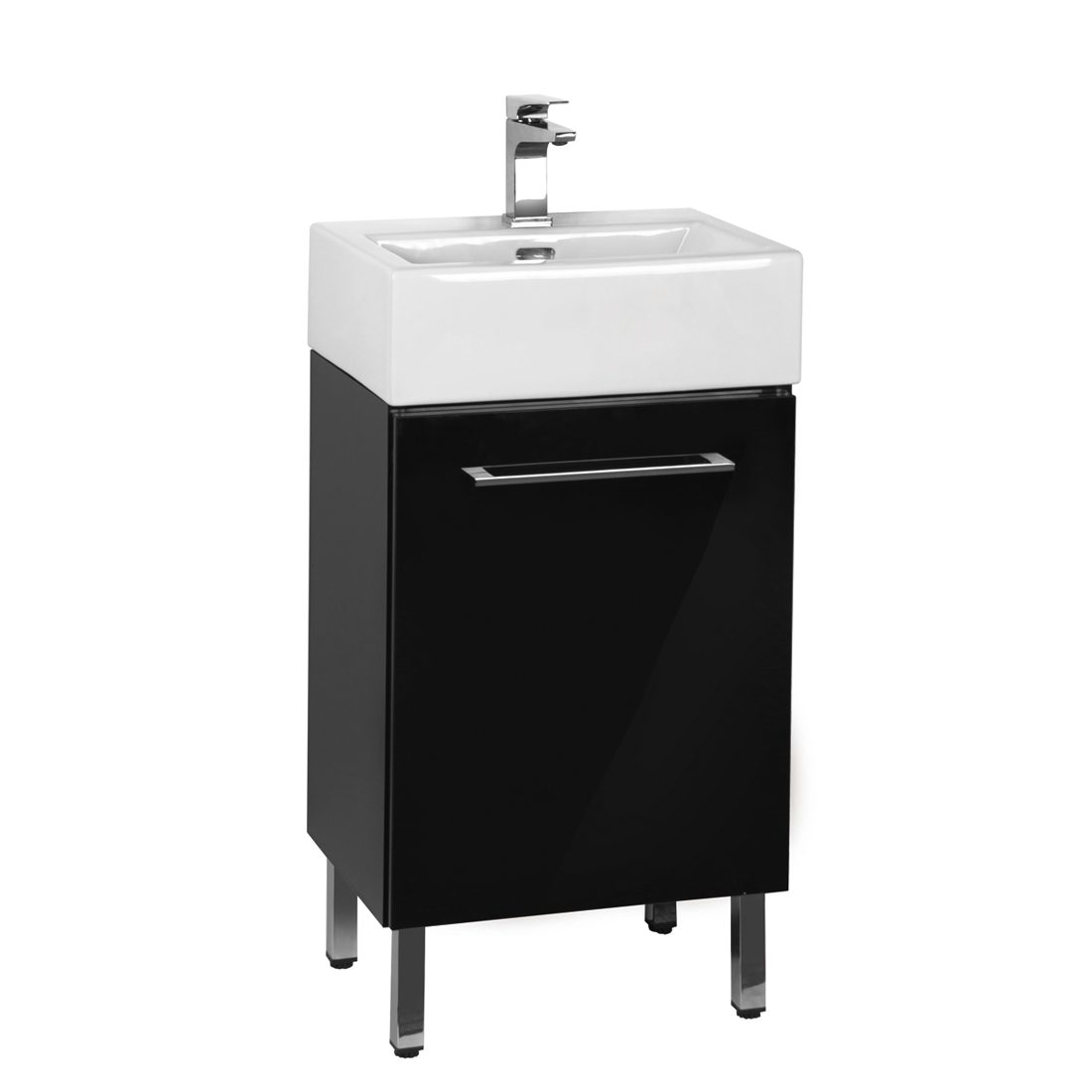 Florence 18inch Vanity Glossy Black Front View