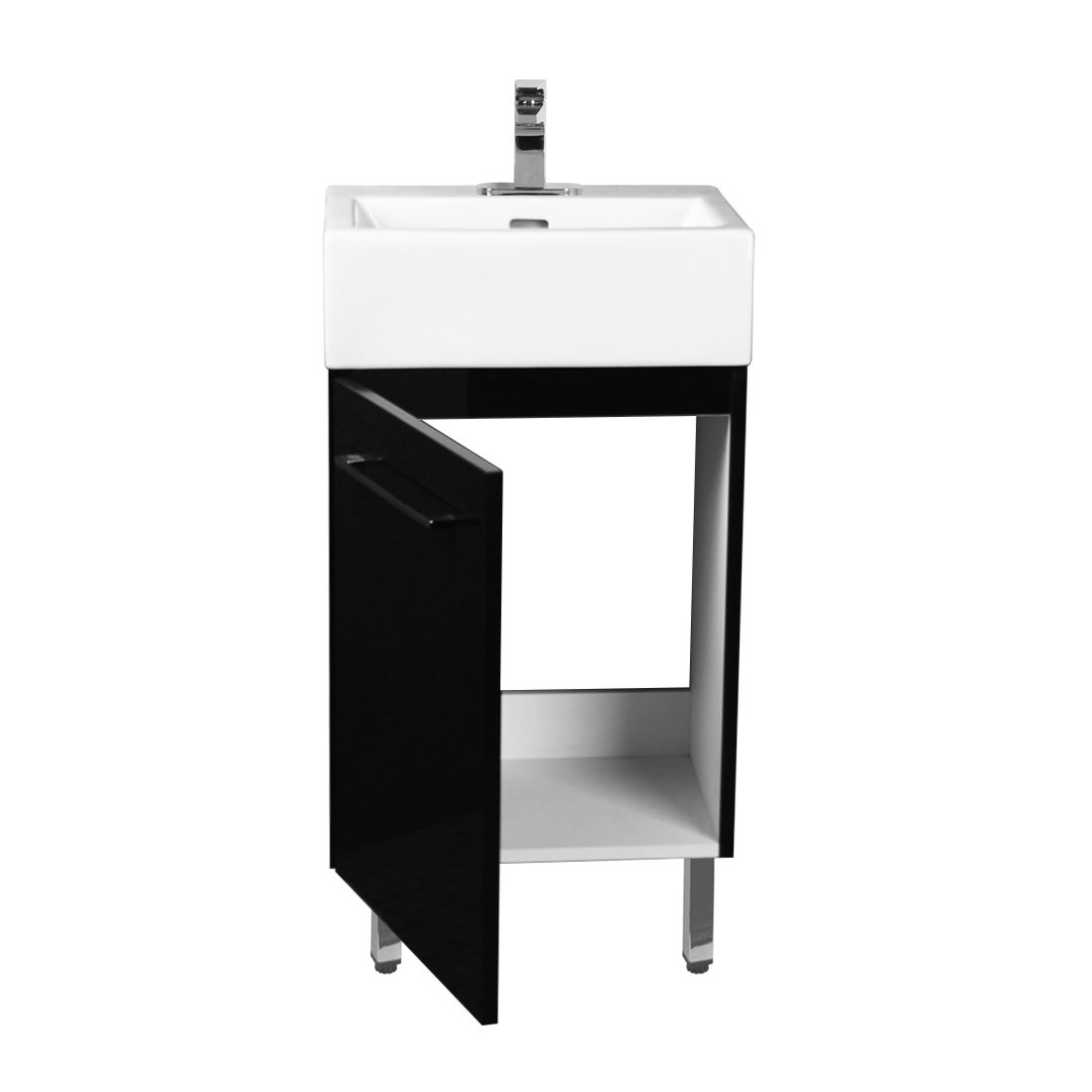 Florence 18inch Vanity Glossy Black Inside View