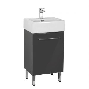Florence 18inch Vanity Glossy Grey Front View