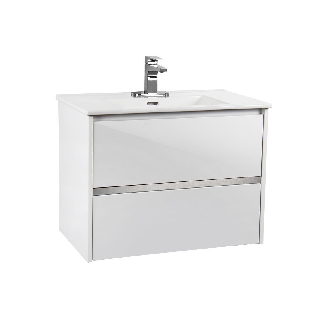 Lille 30inch Wall Hung Vanity Glossy White Front View