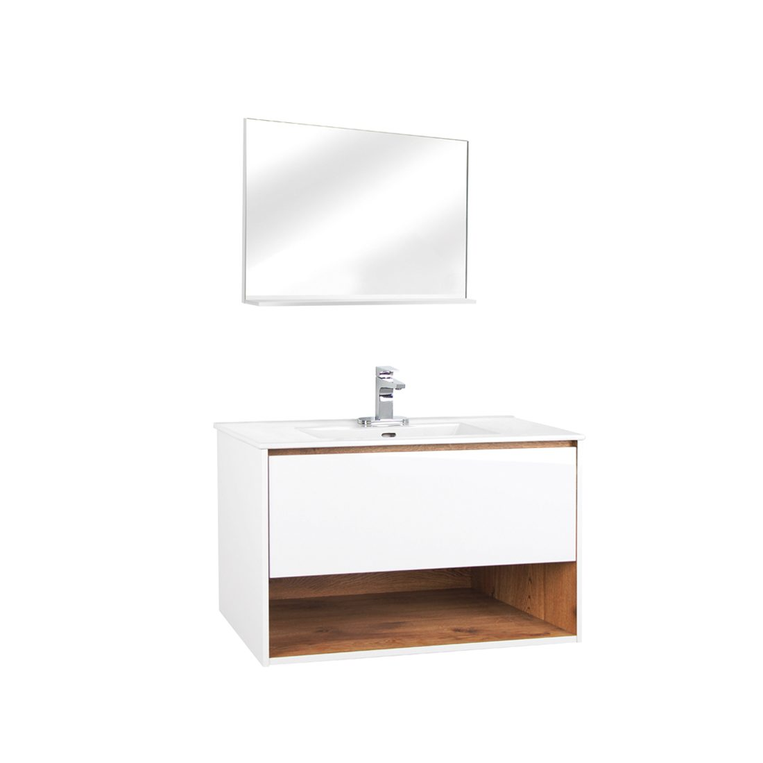 Milan 30inch Wall Hung Vanity Glossy White Front View