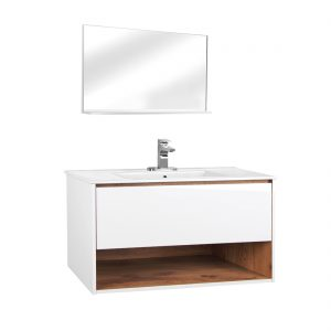 Milan 36inch Wall Hung Vanity Include Mirror Glossy White Front View
