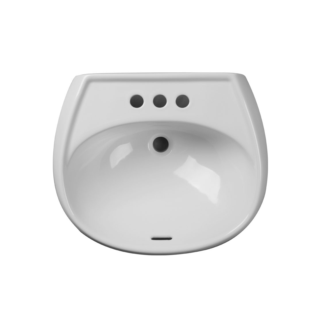 New Orleans Pedestal Lavatory 3Hole 4inch White Up View