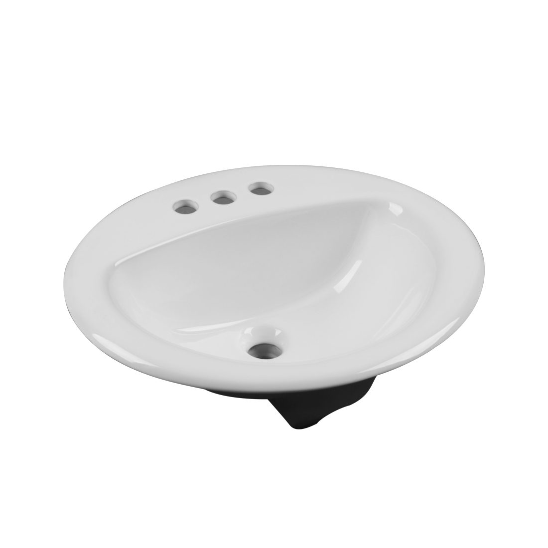 New York Lavatory 3Hole 4inch White Front View