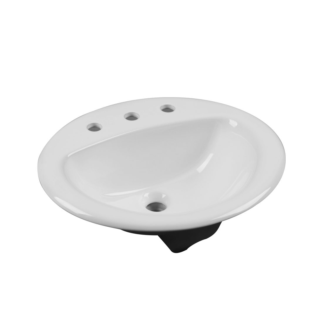 New York Lavatory 3Hole 8inch White Front View