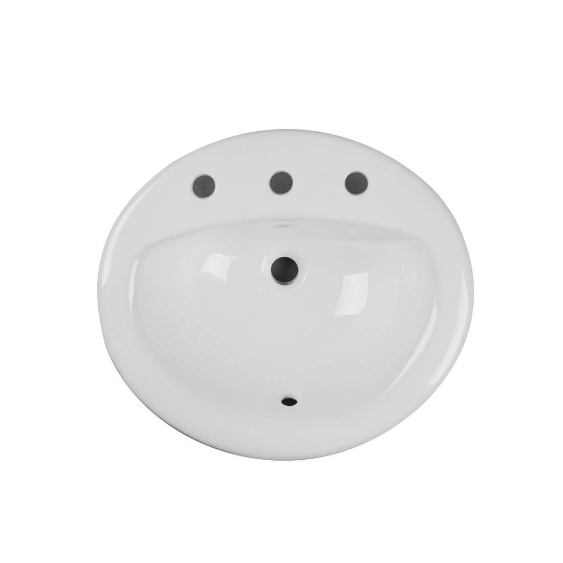 New York Lavatory 3Hole 8inch White Up View