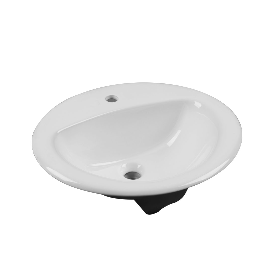 New York Lavatory Single Hole White Front View