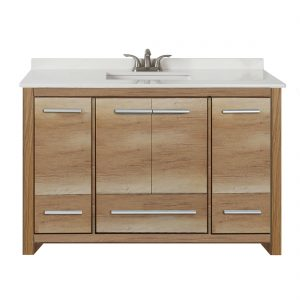 Romali 48inch Vanity With Artificial Marble Top Natural Wood Front View