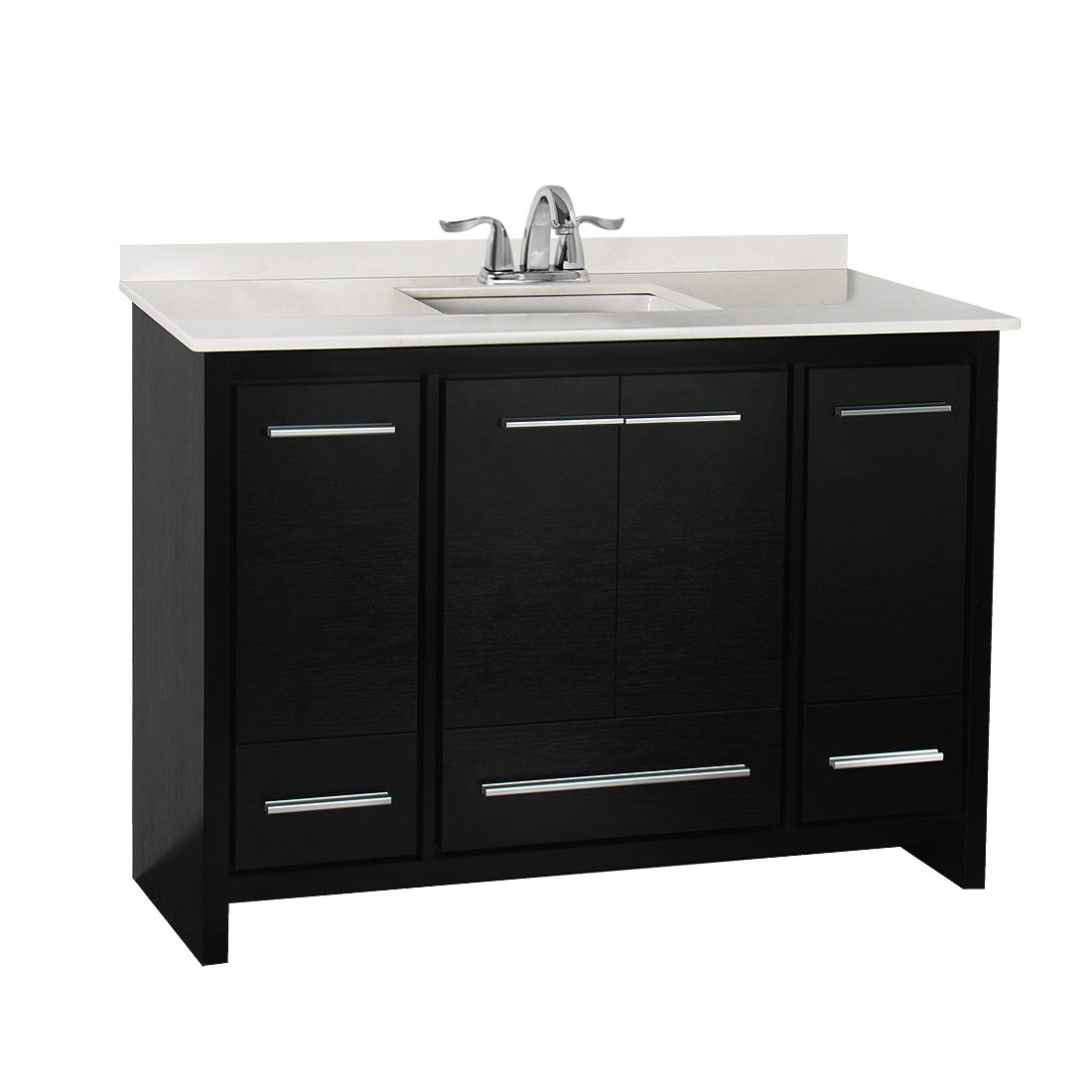 Romali 48inch Vanity With Artificial Marble Top Wooden Black Front View