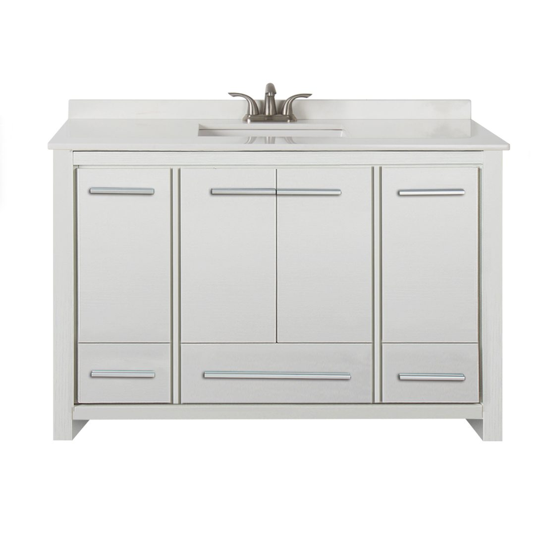 Romali 48inch Vanity With Artificial Marble Top Wooden White Front View