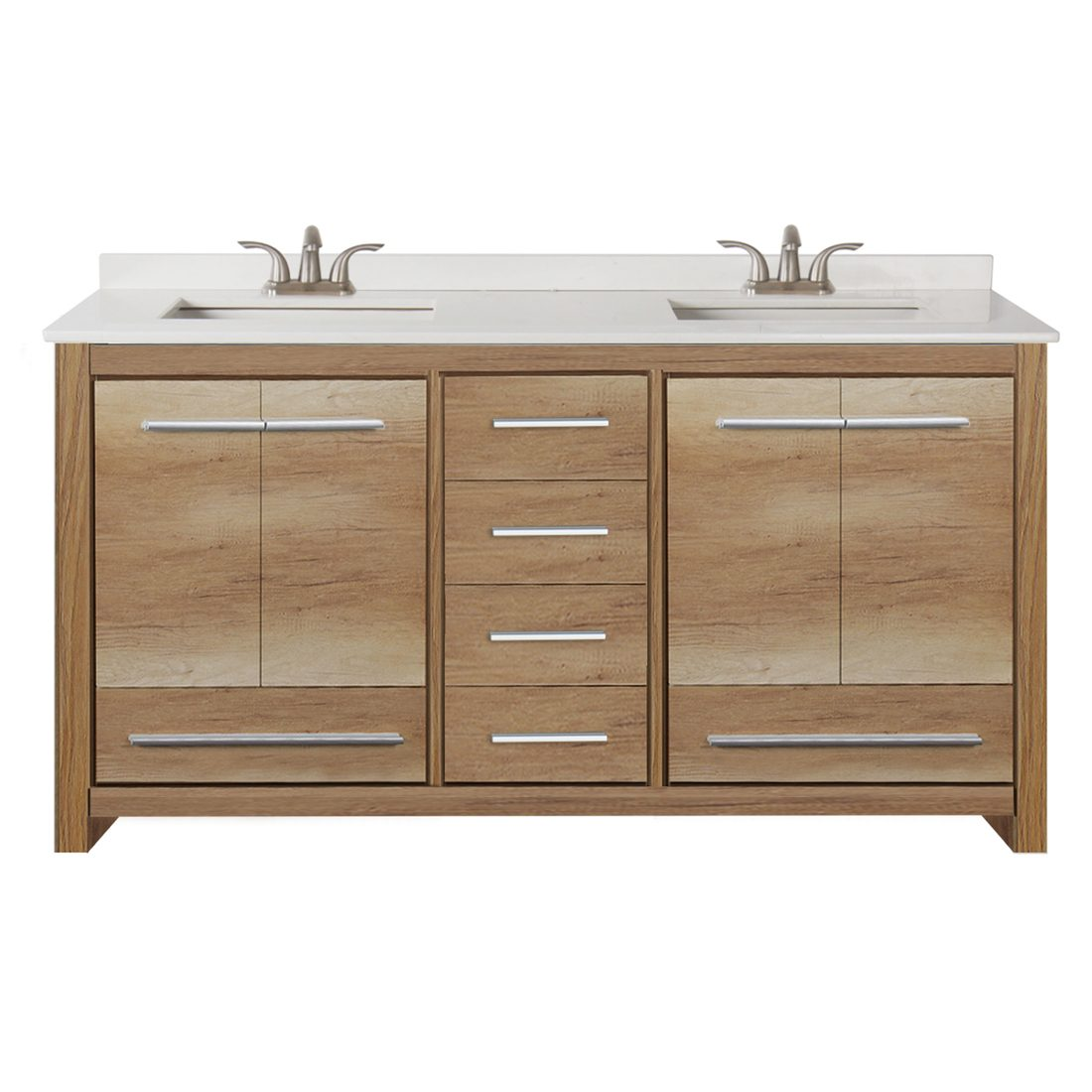 Romali 60inch Vanity With Artificial Marble Top Natural Wood Front View