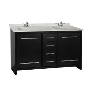 Romali 60inch Vanity With Artificial Marble Top Wooden Black Front View