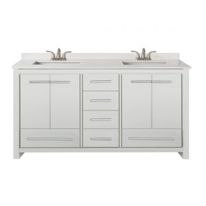 Romali 60inch Vanity With Artificial Marble Top Wooden White Front View