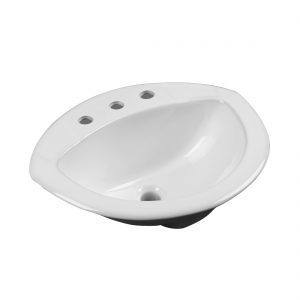 Tampa Lavatory 3Hole 8inch White Front View