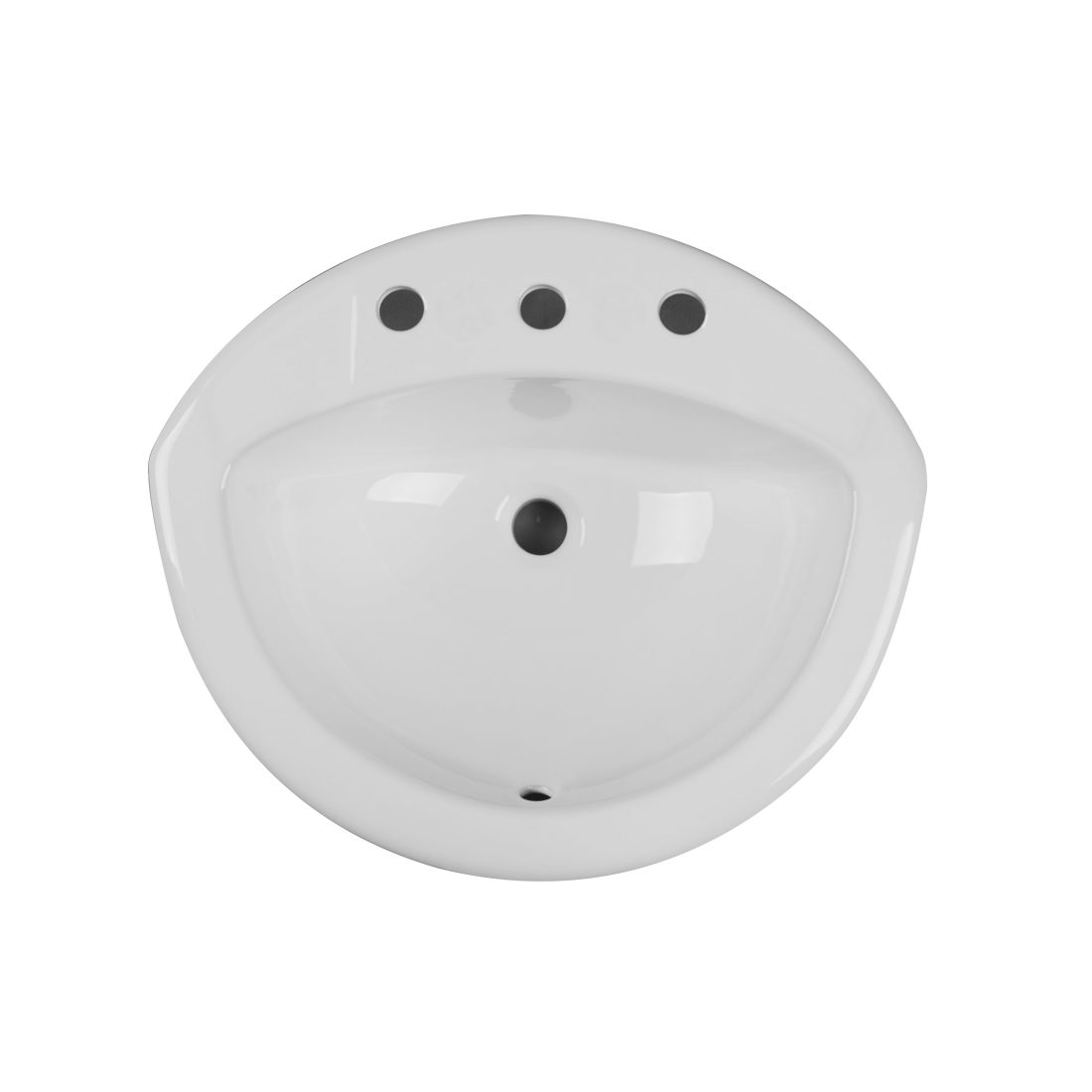 Tampa Lavatory 3Hole 8inch White Up View