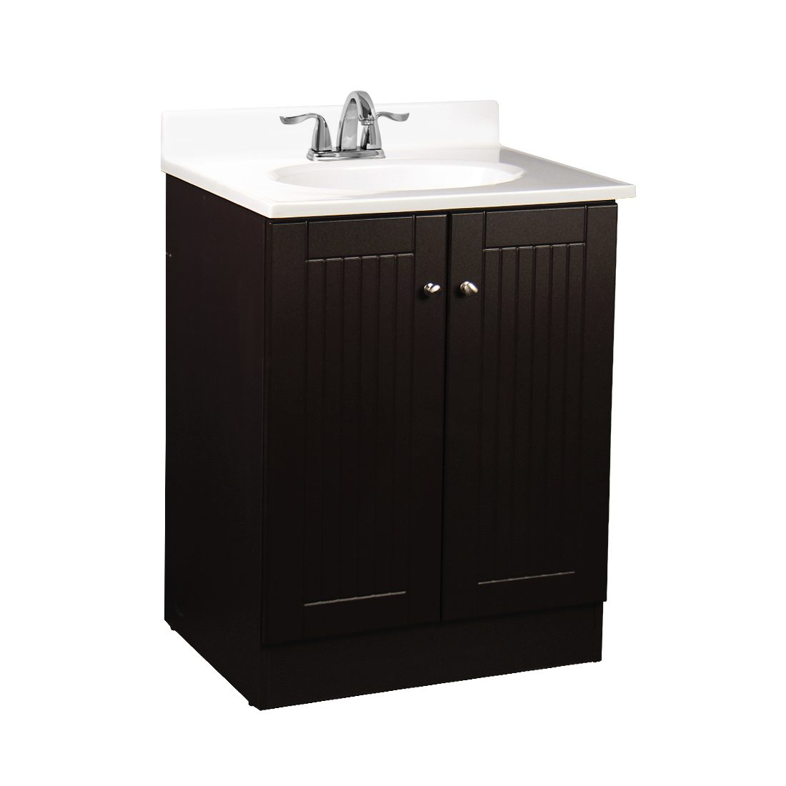 Tivoli 25inch Vanity With Poly Marble Basin Chocolate Front View
