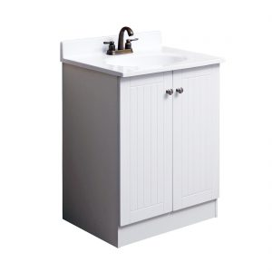 Tivoli 25inch Vanity With Poly Marble Basin White Front View