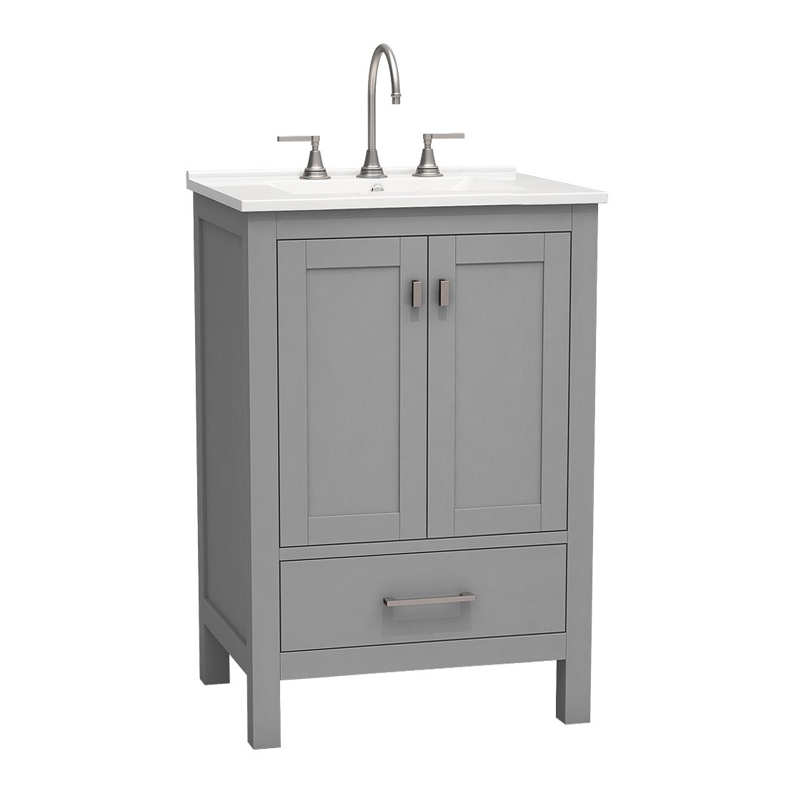 Torino 24inch vanity bottom drawer grey front view
