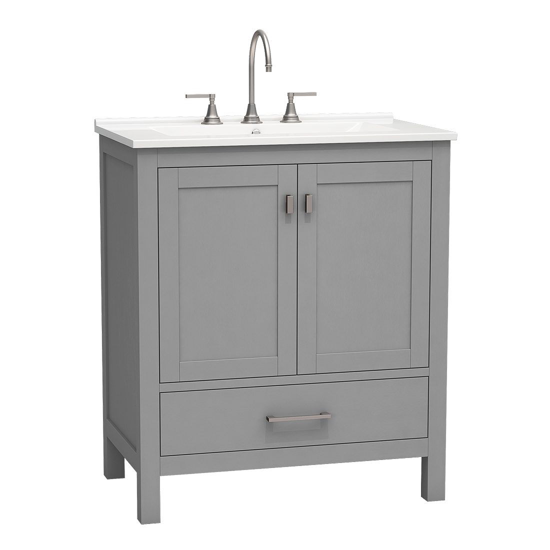 Torino 30inch Vanity Bottom Drawer Grey Front View