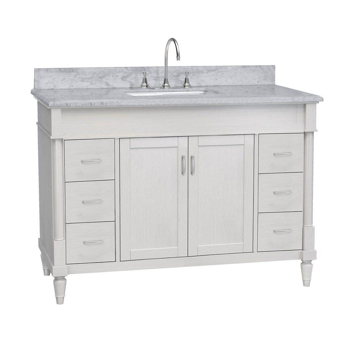 Venice 48inch Vanity White Front View