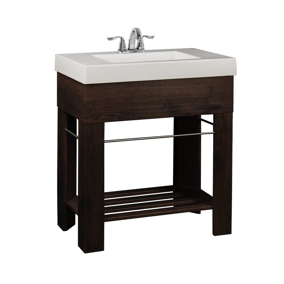 Visby 30inch Vanity Long Hole Walnut Brown Front View