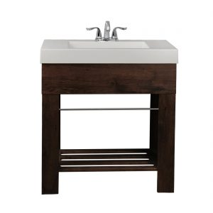 Visby 30inch Vanity Long Hole Walnut Brown Inside View
